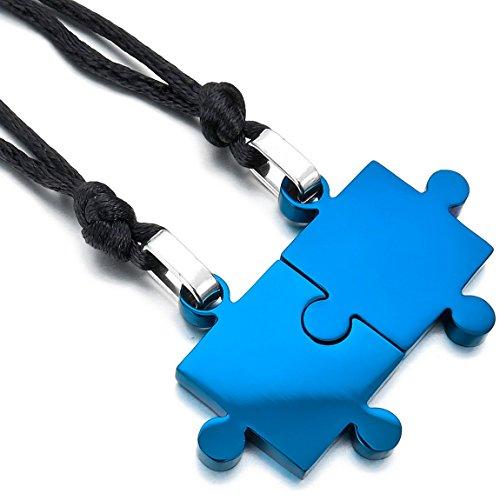 INBLUE Men,Women's 2 PCS Stainless Steel Pendant Necklace Blue Jigsaw Puzzle Love Couple Adjustable 20~22 Inch Chain