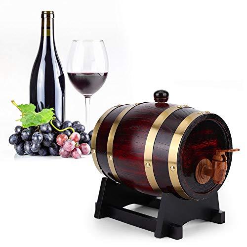 Barilotto di Birra in Legno, 1,5L in Legno di Rovere Vintage di Grande Capacità Mini Barile di Vino Secchio di Stoccaggio Della Famiglia Botti di Birra Dispenser per Botte Vino con Rubinetto Speciale