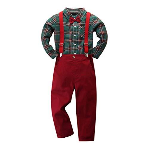 Anglewolf Kleinkind Baby Jungen Bekleidung Kurzarm/Langarm Fliege Gentleman Infant Boys Hemd T-Shirt Tops + Feste Shorts/Hose Outfits Kleidung Bowknot Shirt HosenträGer Outfit Set(rot,100)