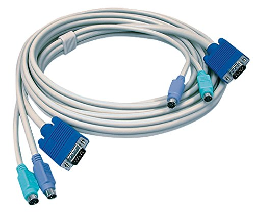 TRENDnet PS2 VGA Combo KVM Male to Male Cable, 10 Feet, Connect with TRENDnet KVM Switches, Keyboard & Mouse: PS/2 type 6-pin mini Din. Monitor: 15-pin HDDB type, TK-C10