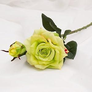 Wedding decoratio Vivid roses Silk Flower Bride Home Decor 2 heads/bouquet,Green
