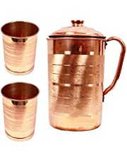 Fedus Copper Jug with 2 Glass (1700 ML of Jug, 250 ML of Each Glass)