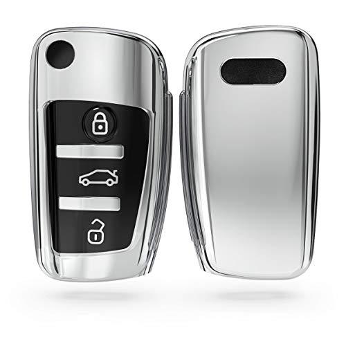 kwmobile Funda para Mando Compatible con Audi Llave de Coche Plegable de 3 Botones - Funda TPU Llave
