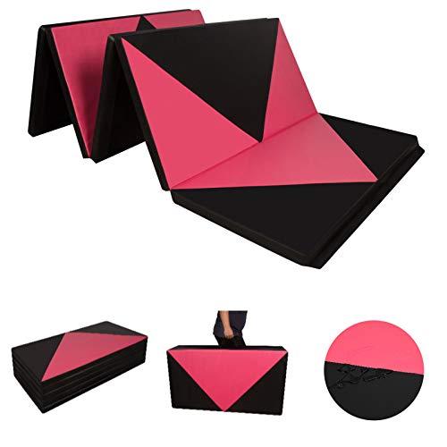 CCLIFE 300x118x5cm Klappbare Weichbodenmatte Turnmatte Fitnessmatte Gymnastikmatte rutschfeste Sportmatte Spielmatte, Farbe:Schwarz&Rot Raute, 4-Fach faltbar