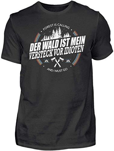 HOLZBRàœDER Der Wald ist Mein Versteck vor Idioten Holz T-Shirt perfekt für die Arbeit mit der Kettensäge, Schwarz, M
