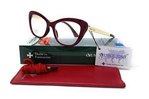 Gafas de presbicia Mujer Diseño en Colores: Demi, Grey, Beige. VENICE Hepburn - Dioptrías: 1 a 3,5 (Burgundy, 1,50)