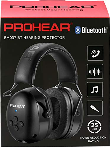 PROHEAR 037 Casco de Protección Auditiva con Bluetooth Almohadillas Reemplazables, Protectores Auditivos con Bolsa Portátil, SNR 30dB para Segar, Construcción, Carpintería