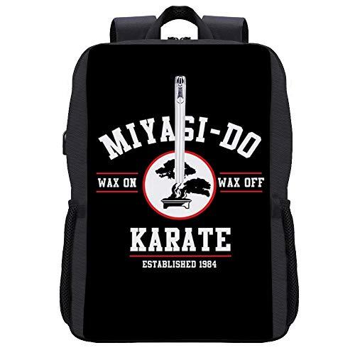 Miyagi Do Karate Kid Wax On Wax Off, Trucker Cap Backpack Daypack Bookbag Laptop School Bag with USB Charging Port