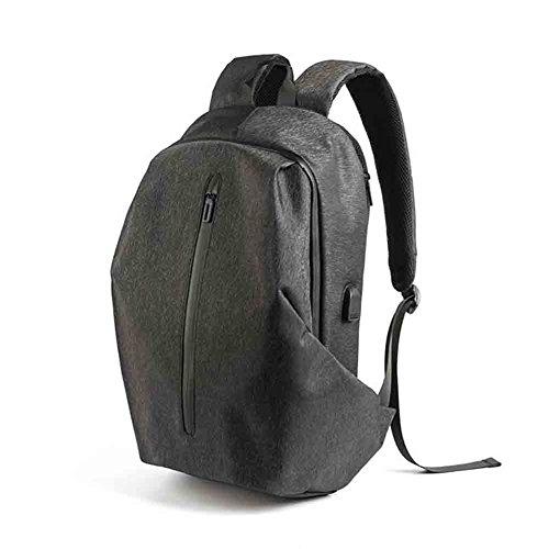 Sunny Rucksack Persönlichkeit Sport Casual Männer Computer Tasche Reisetasche Student Tasche USB Ladeanschluss Anti-Diebstahl-Design Leichte Wasserabweisend Stoff (Farbe : Cool Black)