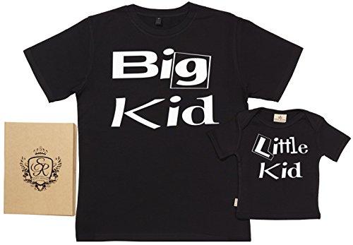 Spoilt Rotten SR - Exklusive Geschenkbox - Big & Little Kid 100% Biobaumwolle - Papa T-Shirt & Baby T-Shirt in Geschenkbox - S, 0-6 Monate - Schwarz