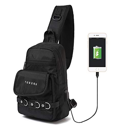 TUDEQU Small Sling Chest Crossbody Single Shoulder Backpacks Bags Daypacks with USB Charging Port for Men Women Teen Outdoor Traveling Hiking (Black)