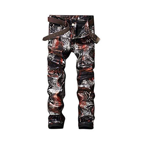 LNLW Men Skinny Jeans Toevallige Broek Fashion Gedrukt casual broek (Size : 32)