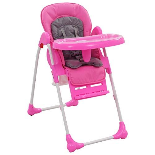 Festnight Klappbar Baby Hochstuhl Kinderhochstuhl Babystuhl Kombihochstuhl Rückenlehne Verstellbar in 3 Positionen Rosa und Grau 49 x 82 x 107 cm