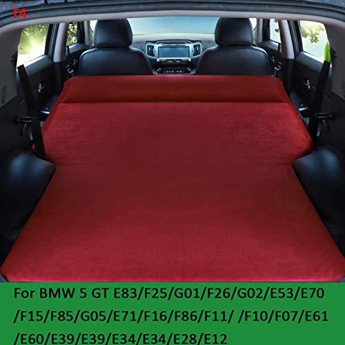QCCQC Geeignet für BMW 5er GT X3 X4 X5 X6 Q7 Q5 Q3 Auto aufblasbares Bett faltbares SUV Kofferraum Reiseluftkissen Bett Luftmatratze, Rot, T4