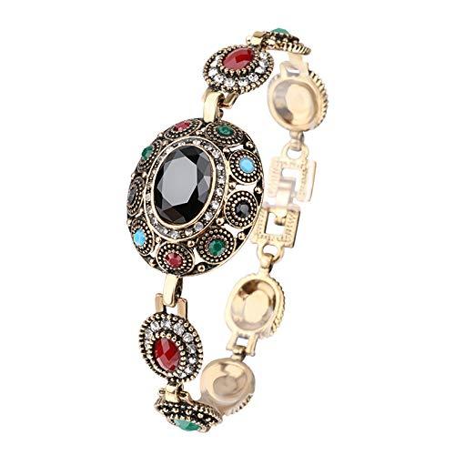 Pulsera de abalorios de la joyería de la elipse multicolor de la resina de los cristales austriacos de color oro pulsera para