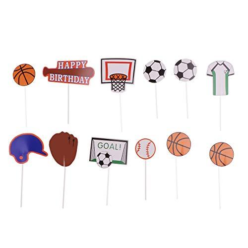 12 adornos decorativos para tartas de la Copa del Mundo de Baloncesto, Béisbol, magdalenas, alimentos y frutas, regalos de fiesta de cumpleaños (fútbol + baloncesto + béisbol)