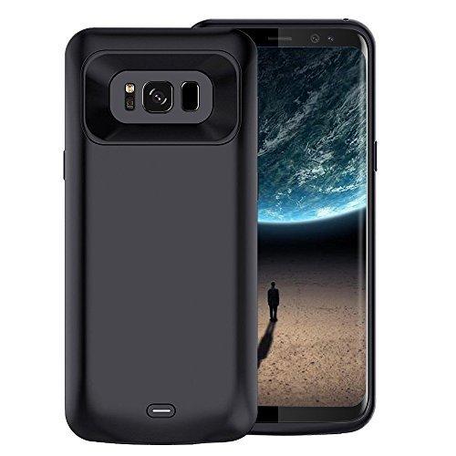 Becho Schutzhülle für Samsung Galaxy S8 Plus, 5500 mAh, dünn, wiederaufladbar, erweiterter Akku, tragbarer Akku, Powerbank, Ladehülle für Samsung Galaxy S8 Plus (6,2 Zoll), Schwarz