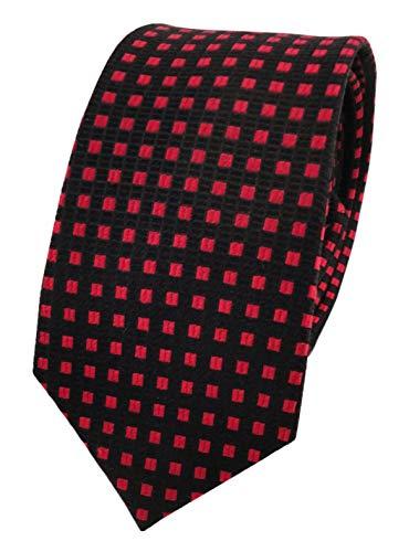 corbata de seda de diseño estrecho - negro rojo lunares