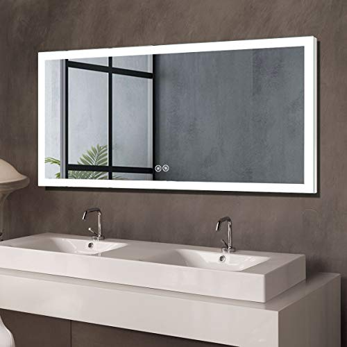 Dimmable Antifog LED Bathroom Mirror, Lighted Vanity Wall Mounted Mirror with Touch Button, Vertical...