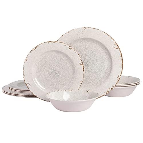 Gibson Home Mauna Round Heavyweight Melamine Dinnerware Set, Service for 4 (12pcs), Ice Rustic