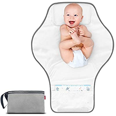 MORROLS Portable Travel Changing Pad, Travel Mat Station for Infants & Newborns, Waterproof Baby Travel Change Mat with Head Cushion.(67X50cm,Grey)