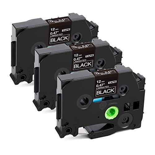 Kompatibel Schriftband als Ersatz für Brother TZE-335 Etikettenband 12mm Tz Tape Weiß auf Schwarz laminiertes band für Brother P touch D200 H100LB H105 D210vp E300vp Beschriftungsgerät, 3stk.