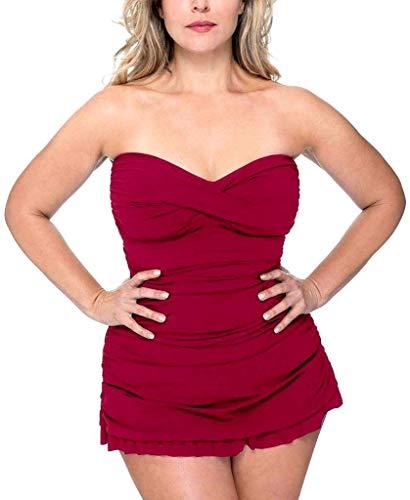 Profile by Gottex Women's Plus-Size Classic Bandeau Swimdress One Piece Swimsuit, Tutti Frutti Ruby, 22W
