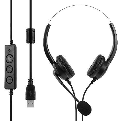 ATopoler Cuffie USB Cablate con Microfono Cancellazione del Rumore e Controlli Audio, Cuffie Cablate per PC Super Leggere e Confortevoli per Chiamate di Lavoro Call Center Chat Incontro (USB)