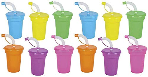 Kicko Neon Sipper Cups - 5.5 Inch Colorful Neon Cups with Lids and Straws - School Events, Themed Parties, and Birthday Celebrations - Party Supplies - 12 Pack