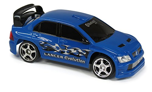 JC Toys Bluetooth Controlled Turbo Racers Mitsubishi Lancer Evolution Car, Blue