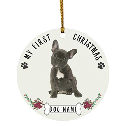 Lovesout Personalized Name Custom Year French Bulldog Dark Brown Puppys New Years 2022 Decorations Gifts First Christmas Tree Ornaments 2021 Circle Ceramic