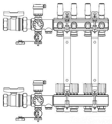 Zurn QHPM-7 AccuFlow 7-Port Manifold, 1' AccuFlow Brass Preassembled and Pressure Tested