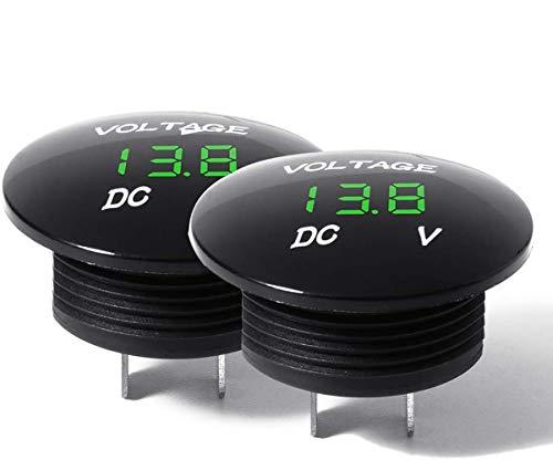 Mini LED Rund Digital Voltmeter Batterie Tester 12 Volt/24Volt Spannungsmesser Wasserdicht für Auto Motorrad Boot 2 Stück Grün