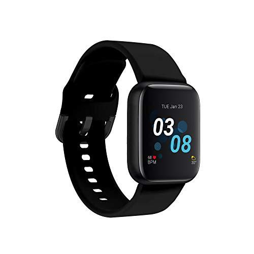 iTouch Reloj inteligente Air 3 para fitness, compatible con iPhone y Android, podómetro, caminar y correr para mujeres y hombres (negro/negro)