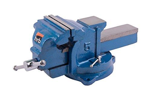 Robuster HRB Schraubstock 100/125/150 mm für Werkbank 360° drehbar (Spannweite 125mm, Gewicht 7 Kg)