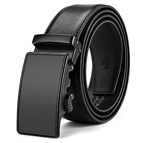 MUCO Gürtel Herren Echtes Ledergürtel Schwarz Gürtel kürzbar mit Automatikschnalle in hochwertiger Zinklegierung 3.5cm