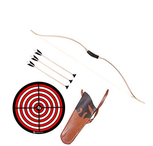 mankitoys Juego de arco para niños de 120 cm con cordón, 3 flechas con ventosa y diana, carcaj, dispositivo deportivo para niños a partir de 14 años, tiro con arco para niños