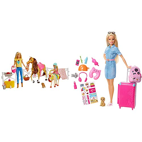 Barbie Ranch Di E Chelsea, Playset Giocattolo Con Due Bambole, Cavalli E Accessori, Per Bambini 3 + Anni & In Viaggio, Bambola Bionda Con Cucciolo, Valigia Che Si Apre, Adesivi E Accessori