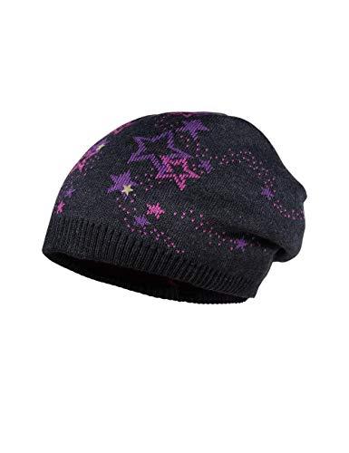 maximo Mädchen Beanie-Mütze, moorbeere/carbonmeliert, 53