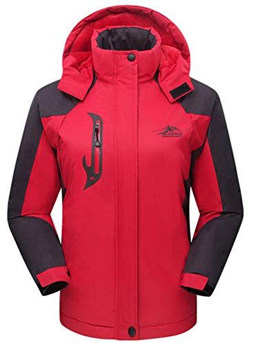 CORAFRITZ Damen Wasserdicht Skijacke Outdoor Winddicht Fleece Regenjacke Gr. 54, rot