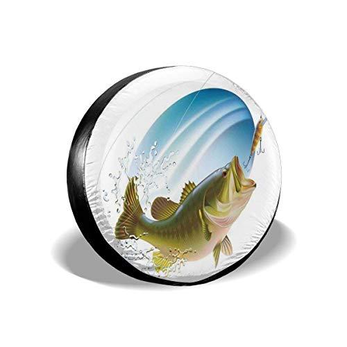 Drew Tours Cubierta del neumático Cubierta del neumático Cubiertas de Las Ruedas, lubina bocanada capturando un bocado en Agua Spray Motion Splash Wild Image, para camioneta SUV de 15 Pulgadas