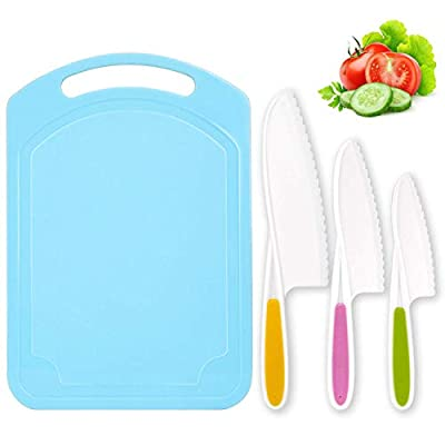 LEEFE 3 Pieces Kids Knife Set for Cooking, with Cutting Board, Safe Lettuce and Salad Knives, Kids Cooking Utensils in 3 Sizes & Colors, Serrated Edges, Plastic Safe Kitchen Knife