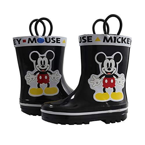 Amazon Essentials Kids' Disney Mickey Mouse Rain Boot, Black, 9/10 Medium US Toddler