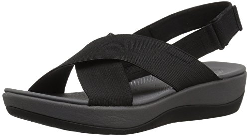 Clarks Women's Arla Kaydin Sandal, Black Elastic Fabric, 7 Medium US