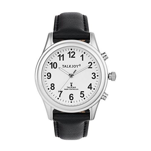 Herren Sprechende Uhr Funkuhr Lederarmband Silber Blindenuhr Leder Armbanduhr