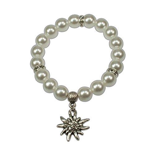Heimatflüstern Trachtenarmband Perlen & Strass-Edelweiß klein - Damen Trachten-Armkette, Perlenarmband elastisch, Armband zum Oktoberfest Dirndl-Schmuck (Creme-weiß)