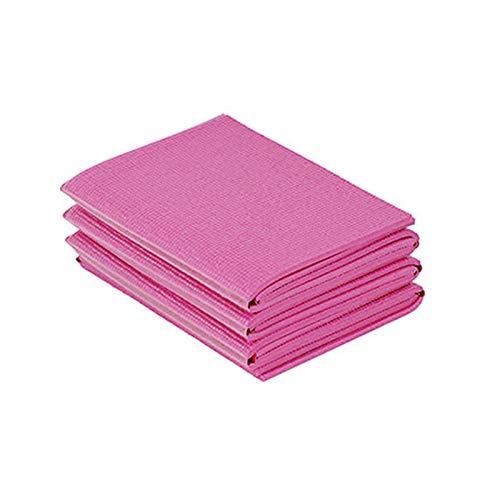 Tabanlly - Esterilla de yoga antideslizante de PVC plegable para pilates, almohadilla de viaje plegable portátil para culturismo y fitness, color Rosa roja, tamaño medium