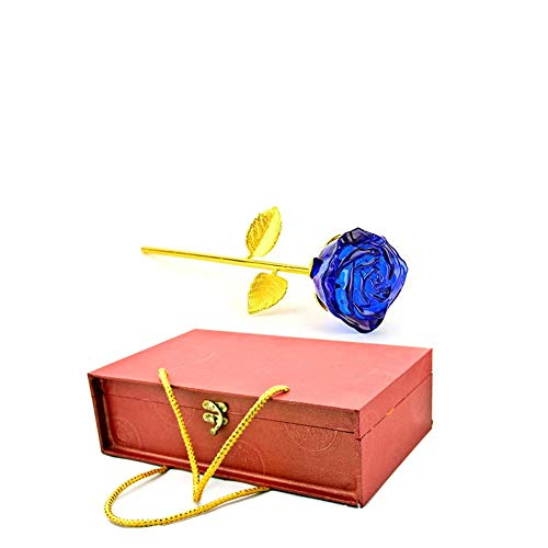 Lelukee Blue Forever Rose with Gift Box,Artificial Glass Flower Forever Rose Idea for Valentine's Day, Mother's Day, Thanksgiving Day, Christmas, Anniversary Engagement Gifts for Women