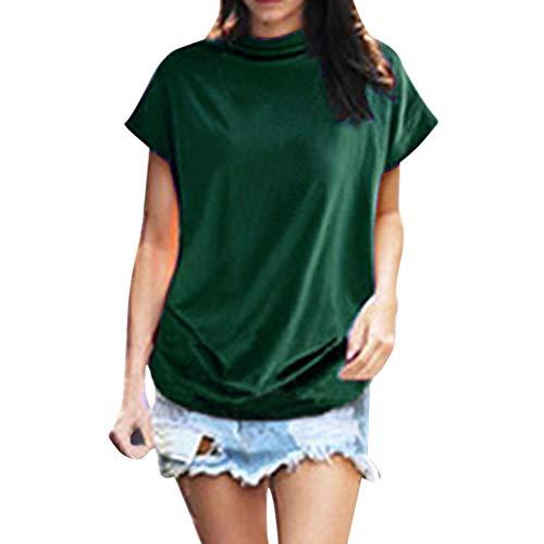 iHENGH Damen Top Bluse Bequem Lässig Mode T-Shirt Frühling Sommer Blusen Frauen Rollkragen Kurzarm Baumwolle Solide Casual Top(Grün, 4XL)