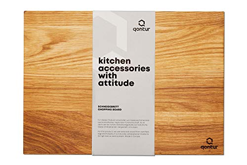 QONTUR Essentials Holz-Schneidebrett aus Eiche massiv   35 x 25 cm groß   Antibakteriell   XL-Holzbrett Küche   Küchenbrett und Servierbrett für Gemüse, Fleisch, Fisch und Brot